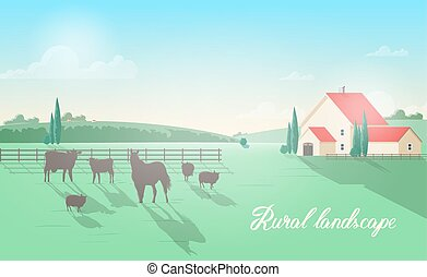 Gorgeous rural landscape with domestic animals grazing on...