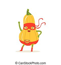 Cartoon character of superhero butternut squash with hand up...
