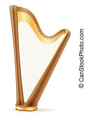 harp stock illustration isolated on white background