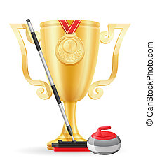 curling cup winner gold stock illustration isolated on white...
