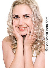 Portrait of smiling pretty young blonde. Isolated
