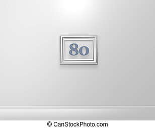 eighty - picture frame with number eighty on white wall - 3d...