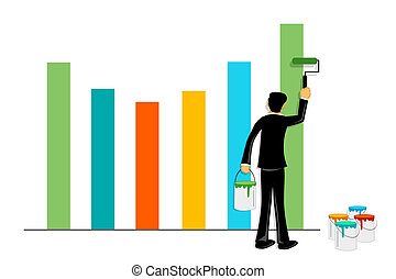 businessman painting graph