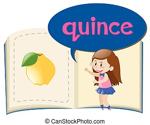 Vocabulary book with word quince illustration