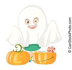 Halloween costume and pumpkin bucket illustration