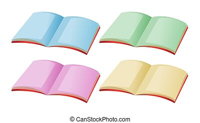 Four books with different color pages illustration