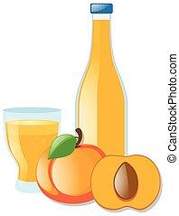 Fresh nectarine and juice illustration