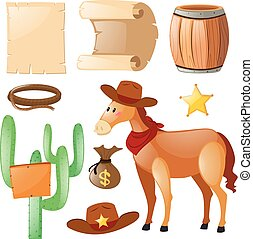 Western theme with horse and cactus illustration