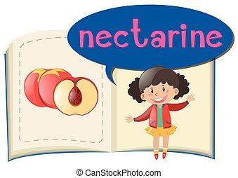 Fresh nectarine and little girl illustration
