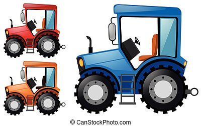 Tractors in three different colors illustration