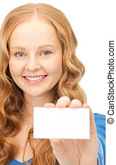 happy woman with business card