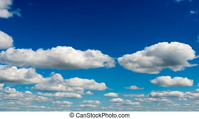 Time lapse clouds on blue sky - Beautiful fluffy clouds in...