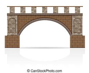 stone bridge stock illustration isolated on white background