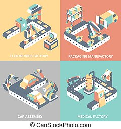Factory automation concept vector flat isometric poster set...
