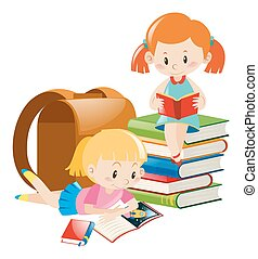 Two girls reading text books illustration