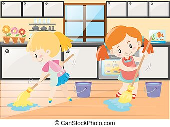 Two girls mopping the kitchen floor illustration