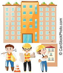 Engineer and foreman working on building site illustration