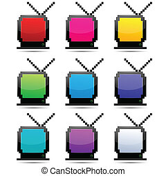 colorful tv sets