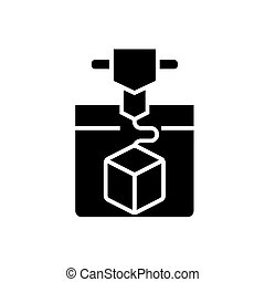 3d printing service icon, vector illustration, black sign on...