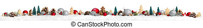 Christmas border or banner, extra wide, white background -...