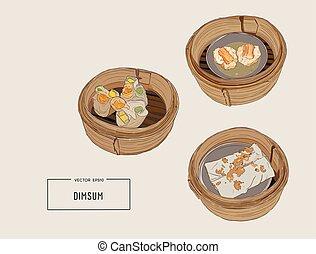 dim sum Vector illustration of Chinese cuisine. - Dim sum...