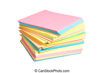 stack of colored paper isolated on white background