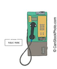 public phone hand draw sketch vector.