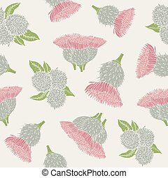 Botanical seamless pattern with burdock prickly heads or...