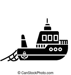 boat fishing icon, vector illustration, black sign on...
