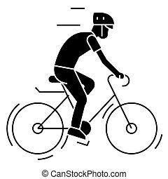 bicycling - bycicle man icon, vector illustration, black...