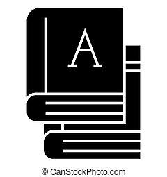 books - text books icon, vector illustration, black sign on...