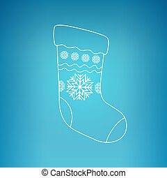 Christmas Sock on a Blue Background - Christmas Sock...
