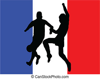 Footballers in silhouette against a red white and blue...