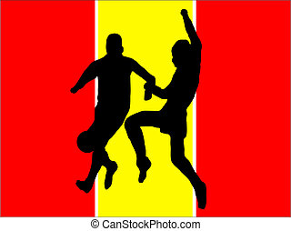 Footballers in silhouette