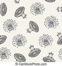 Beautiful floral seamless pattern with dandelion flower...