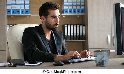 Young businessman at his office typing on the computer....