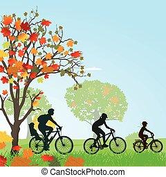 Famlie im Herbst.eps - Family makes a bike trip