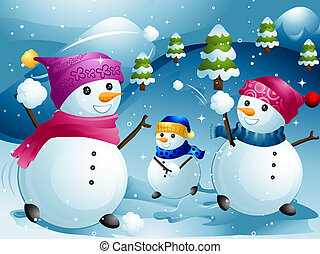 Snowball Fight - Illustration of Snowmen Having a Snowball...