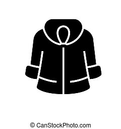 fur coat icon, vector illustration, black sign on isolated...