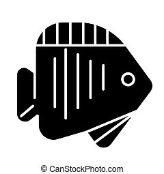 fish tropical icon, vector illustration, black sign on...