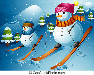 Snowman Ski - Illustration of Snowmen Skiing Down a Mountain...