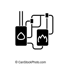 heating system icon, vector illustration, black sign on...