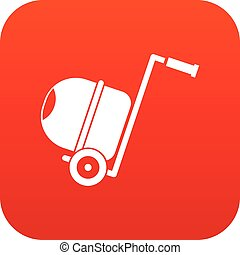 Concrete mixer icon digital red for any design isolated on...