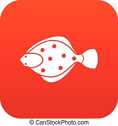 Flounder fish icon digital red for any design isolated on...