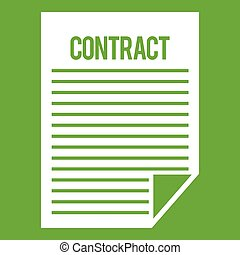 Contract icon green - Contract icon white isolated on green...