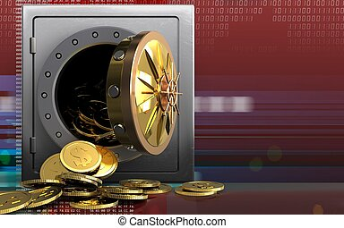 3d dollar coins over digital red - 3d illustration of metal...