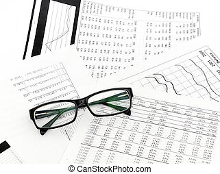 Accounting black glasses lies on stack document