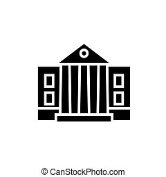 museum - parliament icon, vector illustration, black sign on...