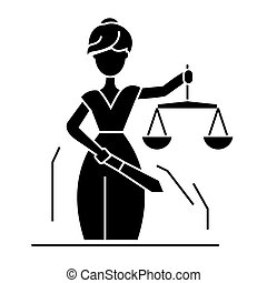 justice statue icon, vector illustration, black sign on...