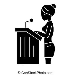 lawyer woman - speech in court icon, vector illustration,...